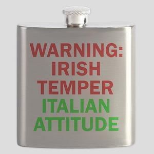 WARNINGIRISHTEMPER ITALIAN ATTITUDE Flask