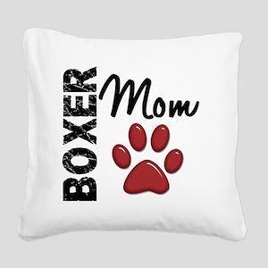 D Boxer Mom 2 Square Canvas Pillow