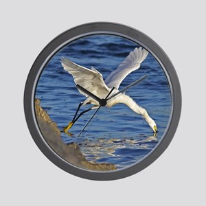 Snowy Egret Mousepad Wall Clock