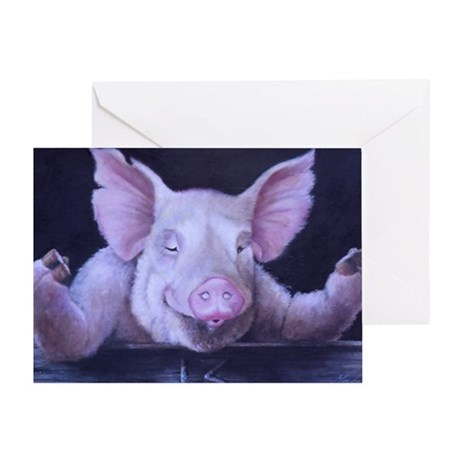Hey Piggy Pig priny Greeting Card