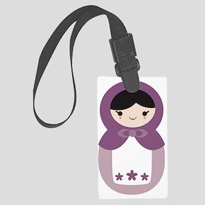 Matryoshka - Purple Large Luggage Tag