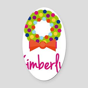 Christmas-wreath-Kimberly Oval Car Magnet