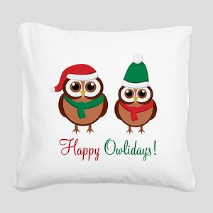 HappyOwlidays Square Canvas Pillow