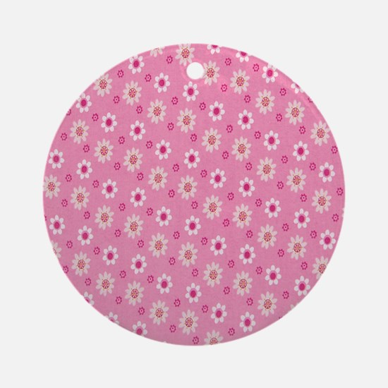Daisies on Pink Round Ornament