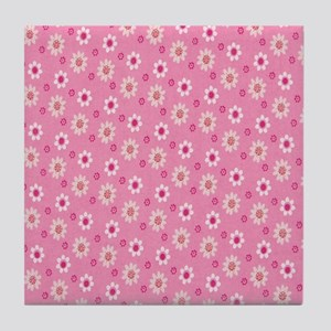 Daisies on Pink Tile Coaster