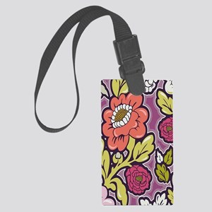 Lush Floral Silhouettes Large Luggage Tag