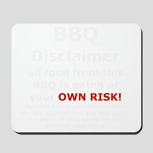 BBQ apron disclaimer white cp Mousepad