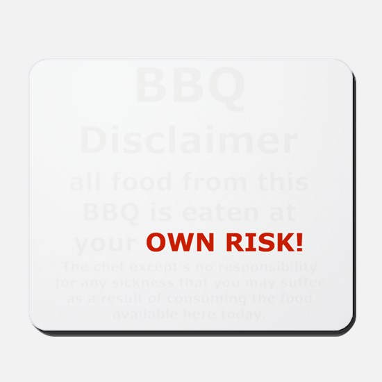 BBQ apron disclaimer white cp Mousepad