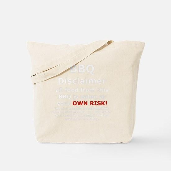 BBQ apron disclaimer white cp Tote Bag