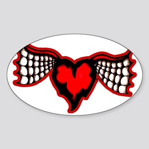 Jagged_Heart_spider_batwing Sticker (Oval)