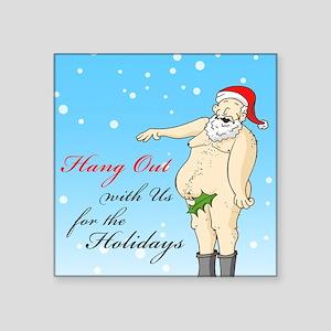 "Santa- Hang Out Card Square Sticker 3"" x 3"""