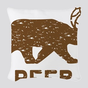 Bear + Deer = Beer Woven Throw Pillow