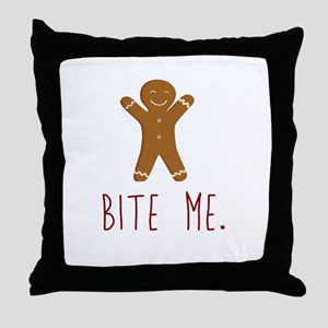 Grouchy Gingerbread Throw Pillow