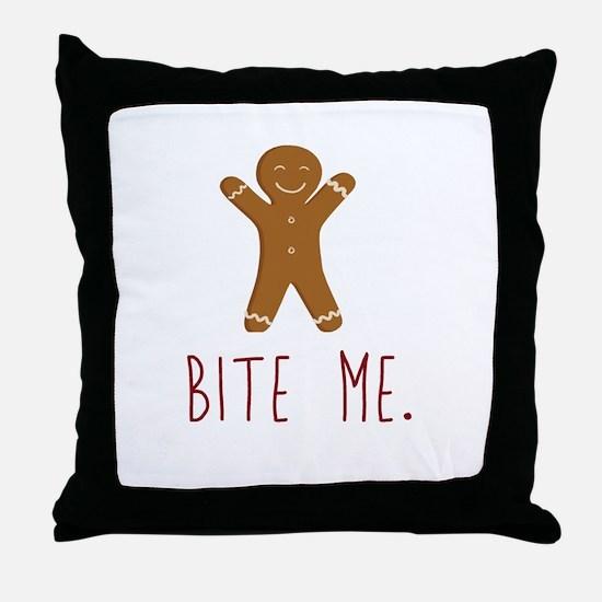 Grouchy Gingerbread Throw Pillow