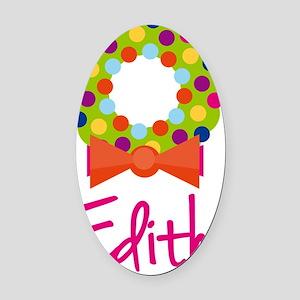 Christmas-wreath-Edith Oval Car Magnet