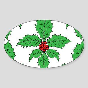 FleurHollyLfPTrLaptp Sticker (Oval)