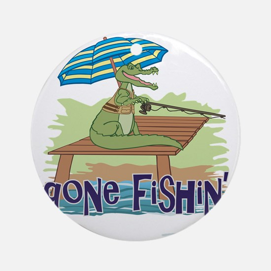 Gone Fishing Round Ornament