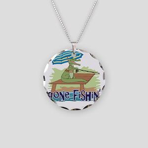 Gone Fishing Necklace Circle Charm