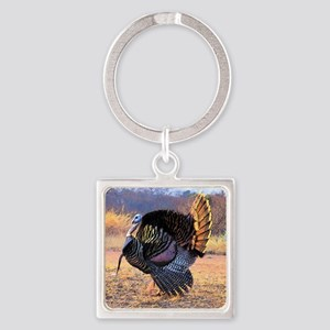 Wild turkey gobbler Square Keychain