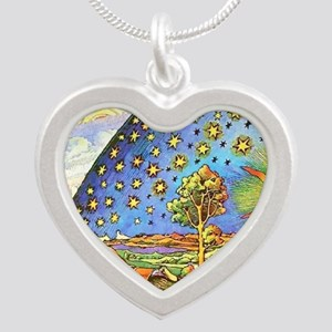 Live Love Laugh Imagine Silver Heart Necklace