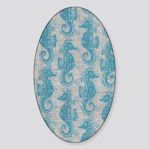 sea horse Sticker (Oval)