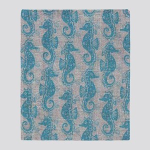 sea horse Throw Blanket