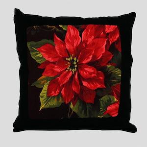 Scarlet Poinsettia Throw Pillow