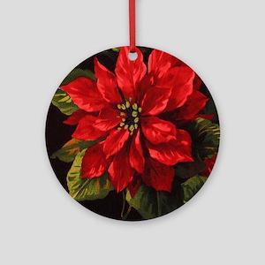 Scarlet Poinsettia Round Ornament
