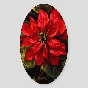 Scarlet Poinsettia Sticker (Oval)