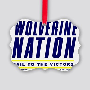 WolverineNationStackHail1BlueYell Picture Ornament