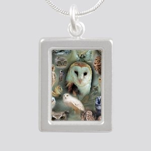 Owls Silver Portrait Necklace