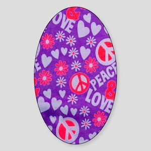 Hippie Love copy Sticker (Oval)
