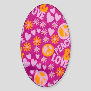 Hippie Love Sticker (Oval)