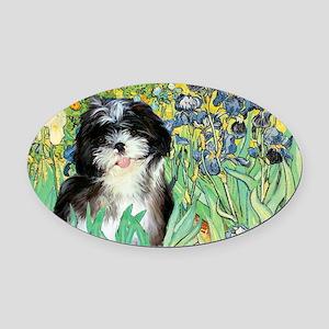 Irises - Shih Tzu 12 Oval Car Magnet