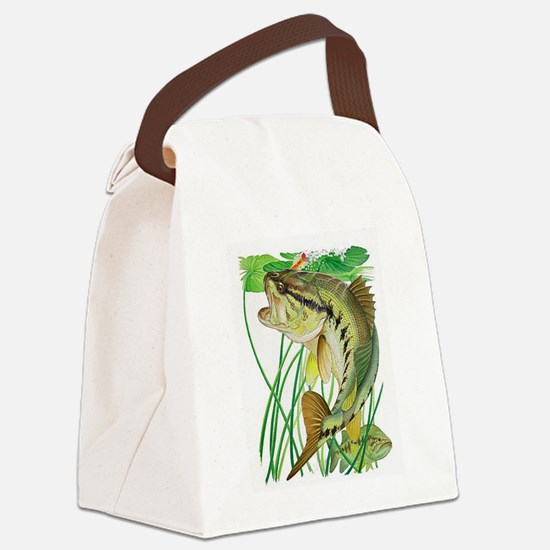 Largemouth Bass with Lily Pads co Canvas Lunch Bag