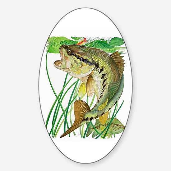 Largemouth Bass with Lily Pads copy Sticker (Oval)