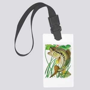 Largemouth Bass with Lily Pads c Large Luggage Tag