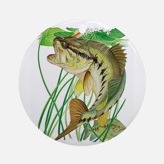 Largemouth Bass with Lily Pads copy Round Ornament