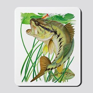Largemouth Bass with Lily Pads copy Mousepad