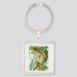 Largemouth Bass with Lily Pads cop Square Keychain