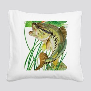 Largemouth Bass with Lily Pad Square Canvas Pillow