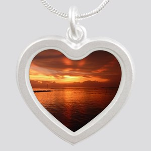 Montego Bay Sunset Silver Heart Necklace