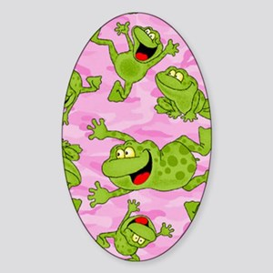 Leaping Frogs Sticker (Oval)