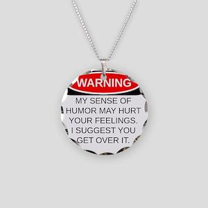 Warning Necklace Circle Charm