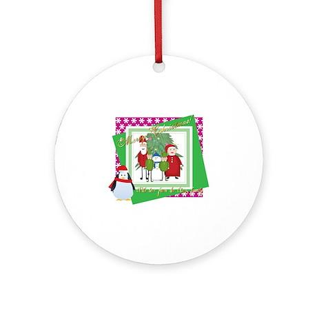 Claus Family Portrait (2) Round Ornament