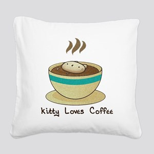 Kitty Loves Coffee Square Canvas Pillow