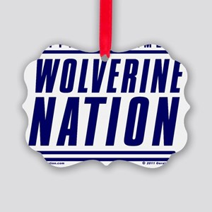 WolverineNationStackMemberBlue Picture Ornament