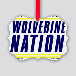 WolverineNationStackMemberBlueYel Picture Ornament