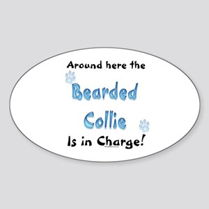 Bearded Collie Charge Oval Sticker