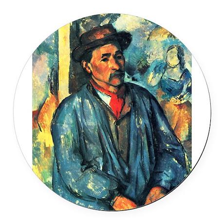 Man in a Blue Smock - Paul Cezanne - c1896 Round C